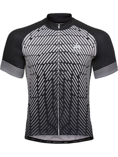 Odlo Fujin Print Stand-Up Collar SS Full Zip Shirt Men black-odlo silver grey